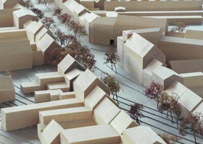 Arkitekturmodel i pap og ahorn af Skanderborg midtby