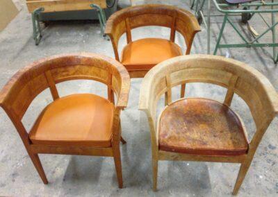 En stol mangler overflade behandling og ny hynde
