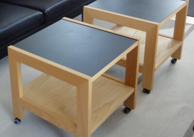 Sofaborde i ask & linoleum m. hjul - Design Carl Schneider